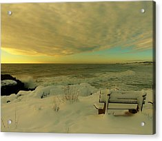 Acrylic Print featuring the photograph Winter Seascape by Elaine Franklin