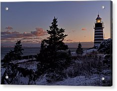 Winter Sentinel Lighthouse Acrylic Print by Marty Saccone