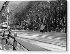 Winter Shack In Black And White Acrylic Print by Paul Ward