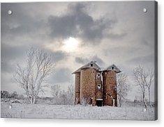 Winter Silo Acrylic Print by Karen Varnas