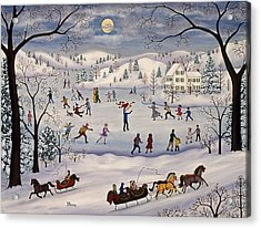 Winter Skating Acrylic Print by Linda Mears