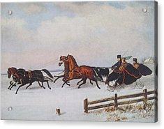 Winter Sleigh Acrylic Print by Cornelius Krieghoff