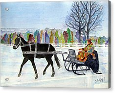 Acrylic Print featuring the painting Winter Sleigh Ride by Carol Flagg