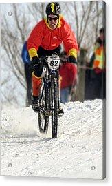Winter Snow Mountain Bike Race Acrylic Print by Darleen Stry