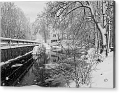 Winter Snow Storm In Somesville Maine Acrylic Print by Keith Webber Jr