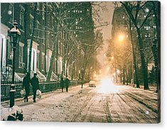 Winter - Snow - Washington Square - New York City Acrylic Print by Vivienne Gucwa