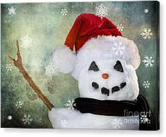 Winter Snowman Acrylic Print by Cindy Singleton