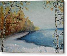 Winter Starts At Kymi River Acrylic Print