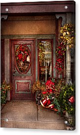 Winter - Store - Metuchen Nj - Dressed For The Holidays Acrylic Print by Mike Savad