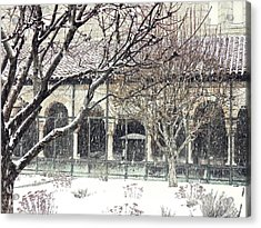 Winter Storm At The Cloisters 5 Acrylic Print by Sarah Loft