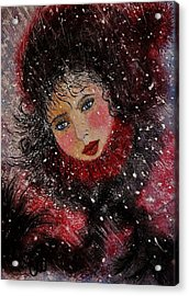 Acrylic Print featuring the painting Winter Story... by Cristina Mihailescu