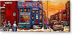 Winter Stroll Beautiful Sunny Day Montreal Street Scene  - Verdun Depanneur Hockey City Scene  Acrylic Print by Carole Spandau