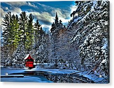 Winter Sun On The Red Boathouse Acrylic Print by David Patterson