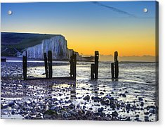 Winter Sunrise At Low Tide At Seven Sisters Cliffs Acrylic Print by Matthew Gibson