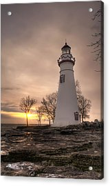 Winter Sunrise At Marblehead Lighthouse - Portrait Acrylic Print