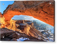 Winter Sunrise At Mesa Arch Acrylic Print by John McArthur