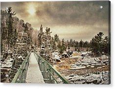 Winter Sunrise Over A Swinging Bridge Acrylic Print by Mark David Zahn