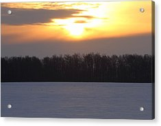 Winter Sunrise Over Forest Acrylic Print by Dan Sproul