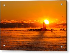 Winter Sunrise Whaleback Light Acrylic Print