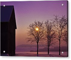 Winter Sunset Acrylic Print by Aged Pixel