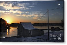Acrylic Print featuring the photograph Winter Sunset At The Bog by Gina Cormier