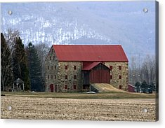 Acrylic Print featuring the photograph Winter Sunset  At The Old Snyder Stone Barn by Gene Walls