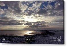 Winter Sunset Beach And Bench Acrylic Print by Merice Ewart