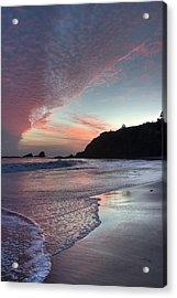 Winter Sunset Crescent Bay Acrylic Print