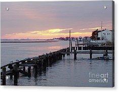 Winter Sunset Freeport Acrylic Print by John Telfer