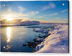 Winter Sunset In Iceland Acrylic Print