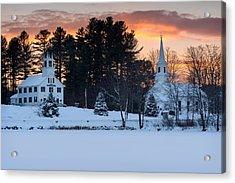 Winter Sunset Acrylic Print by Michael Blanchette
