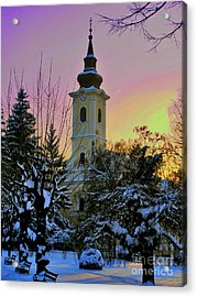 Acrylic Print featuring the photograph Winter Sunset by Nina Ficur Feenan