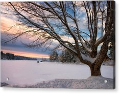 Winter Sunset On Long Lake Acrylic Print