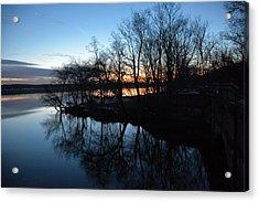 Winter Sunset On Potomac River Acrylic Print by Bill Helman