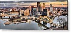 Winter Sunset Over The Pittsburgh Skyline Acrylic Print by Adam Jewell