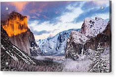 Winter Sunset Over Yosemite Valley Acrylic Print