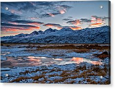 Winter Sunset Reflection Acrylic Print by Cat Connor