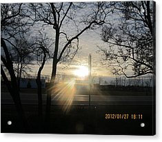 Winter Sunset Through The Trees Acrylic Print