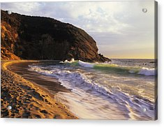 Winter Swells Strands Beach Acrylic Print by Cliff Wassmann