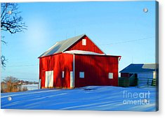 Winter Time Barn In Snow Acrylic Print by Luther Fine Art