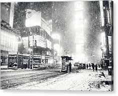 Winter - Times Square - New York City Acrylic Print by Vivienne Gucwa