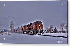 Acrylic Print featuring the photograph Winter Train by Lynn Hopwood