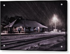 Winter Train Station  Acrylic Print