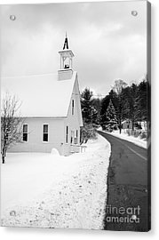 Winter Vermont Church Acrylic Print by Edward Fielding