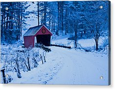 winter Vermont covered bridge Acrylic Print by Jeff Folger