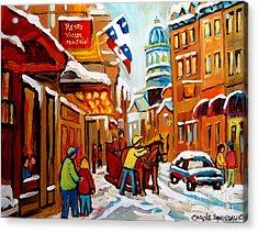 Winter Walk Montreal Acrylic Print by Carole Spandau