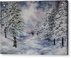 Acrylic Print featuring the painting Winter Walk On Cannock Chase by Jean Walker