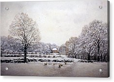 Acrylic Print featuring the painting Winter Walk by Rosemary Colyer