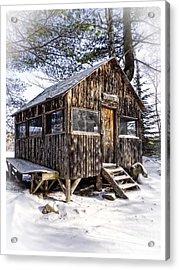 Winter Warming Hut Acrylic Print by Edward Fielding