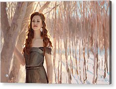 Winter Warmth - Figure In The Landscape Acrylic Print